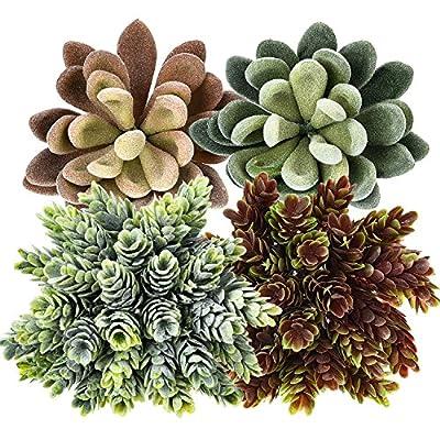 Gejoy 4 Pieces Artificial Succulents Unpotted Faux Echeveria Assorted Colors Artificial Plants for Home Garden Decorations