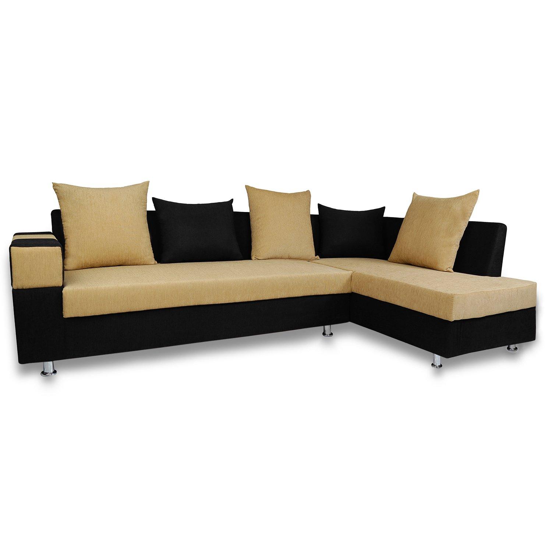 Adorn India Adillac 5 Seater Corner Sofa(Right Side)(Beige & Black)