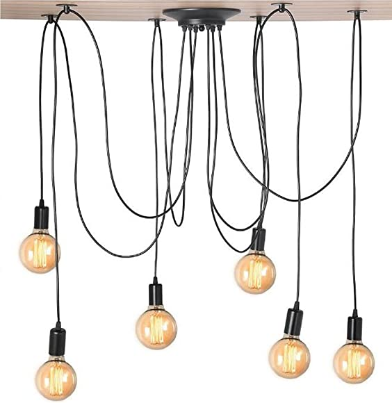 Kiven Vintage 6 head Chandelier Bulb Pendant Lights