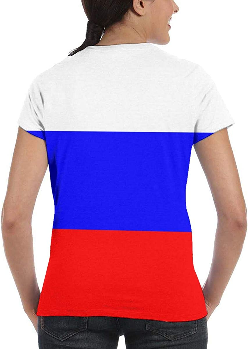 Flag of Russia Womens Fashion Round Neck Loose Sports Casual T-Shirt Wild Short Sleeve