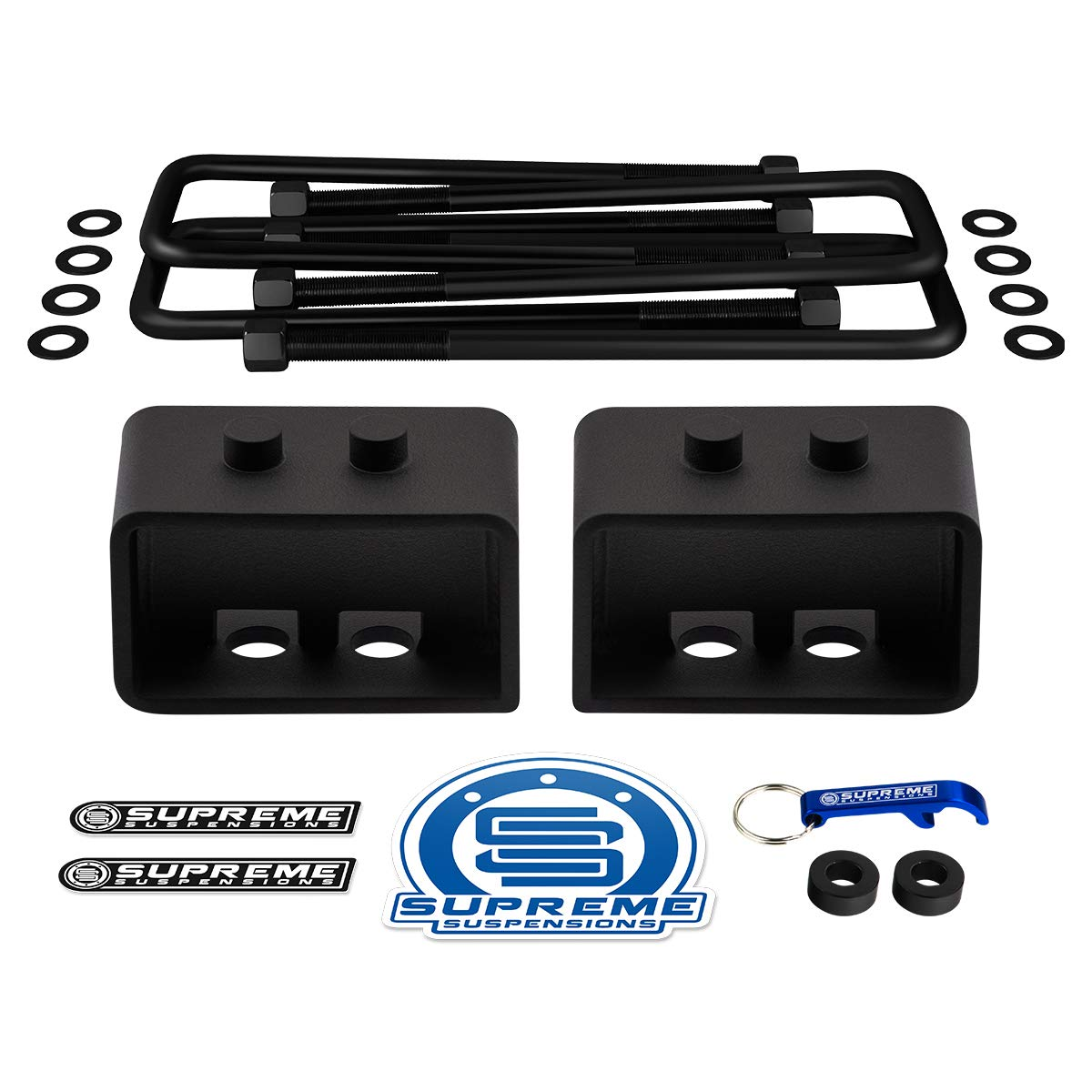 Supreme Suspensions 1.5 Inch Rear Tappered Steel Lift Blocks with Square U-Bolts 4WD Rear Leveling Kit for 2004-2019 Ford F-150
