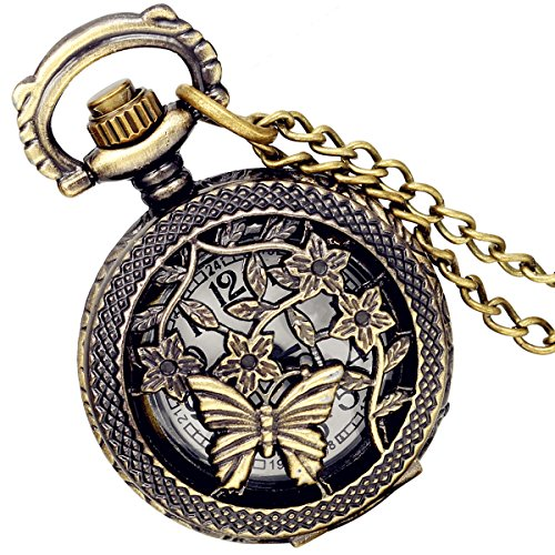 Lancardo Antique Brass Tone Butterfly Hollow Skeleton Case Military Time Fob Pocket Watch With Chain