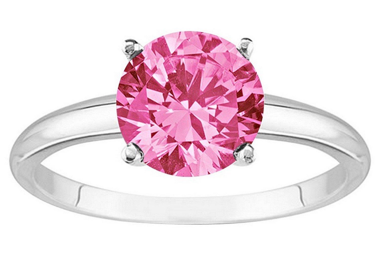 1/2 - 5 Carat Platinum Round Pink Sapphire 4 Prong Diamond ...