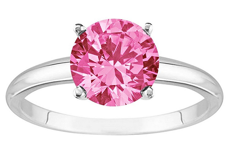 1/2 - 5 Carat 14K White Gold Round Pink Sapphire 4 Prong Diamond ...