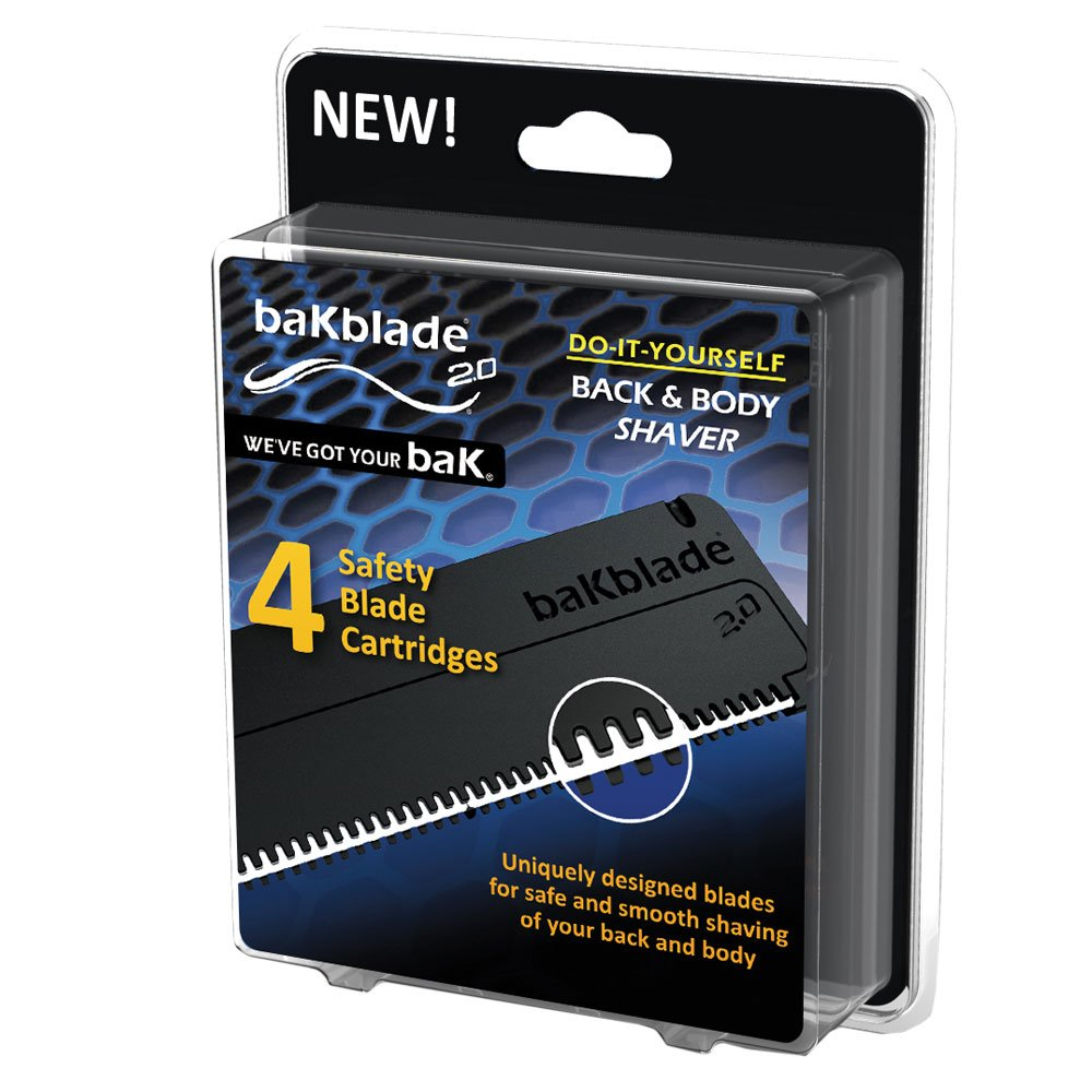 BaKblade 2.0 - Cuchillas de recambio - Juego de 4 cuchillas de seguridad - 9 cm de ancho DryGlide - Para afeitado suave y seguro de espalda y cuerpo