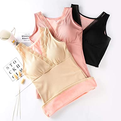 DIBAO Womens Camisole Tank Tops Winter Fleece Lined Thin Straps Basic Layering Underwear,2 Pack