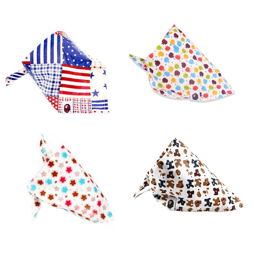 Baby Dreieckstuch, Isuper 4er Pack Baby Halstuch aus Baumwolle Babylätzchen, Multifunktionelles Dreiecktuch für Kinder von 0-10 Jahre, 65 x 44 cm, Zufällig Geschickt Zufällig Geschickt