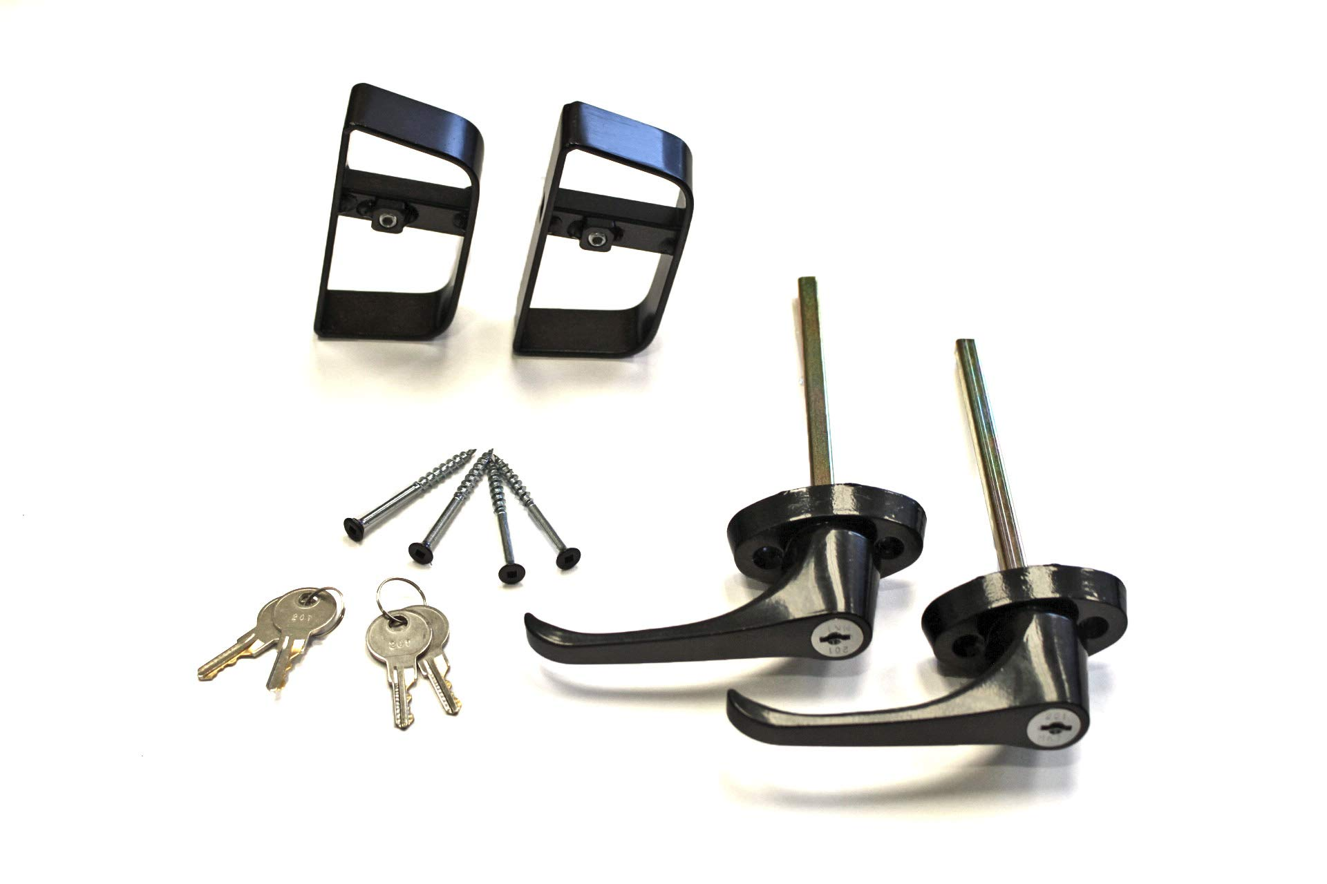 Doors & Door Hardware 5-1/2'' Black L Handle Door Lock Set - For shed, gate, playhouse - 2 KEYED ALIKE