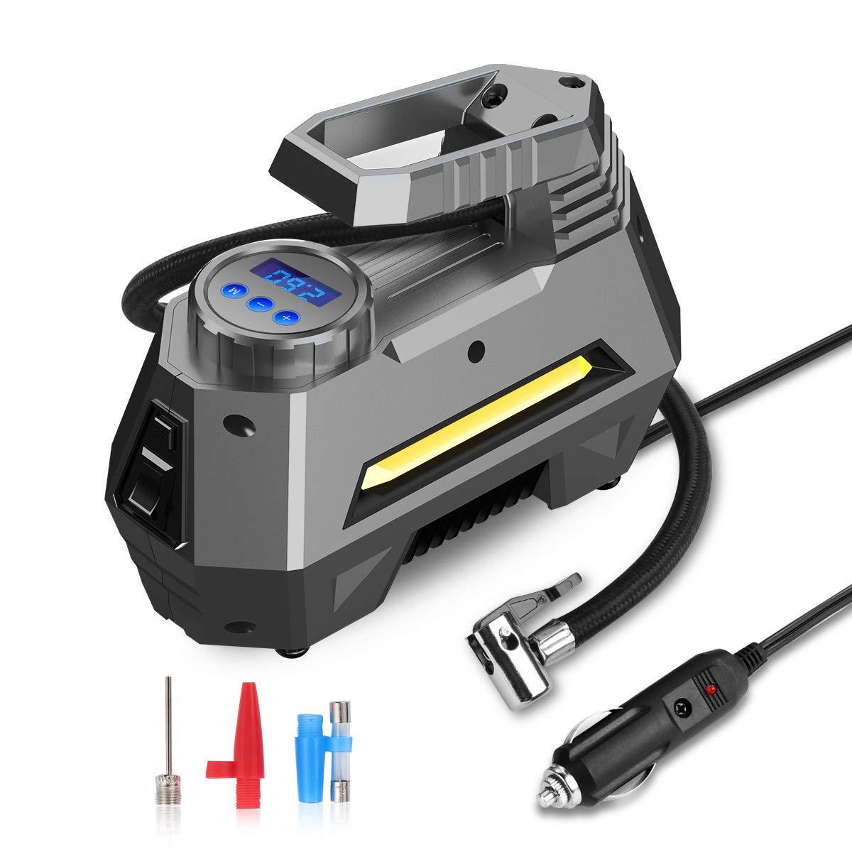 JOYROOM Portable Air Compressor Tire Inflator - Car Tire Pump with Digital Pressure Gauge (150 PSI 12V DC), Bright Emergency Flashlight - for Auto, Trucks, Bicycles, Balls by JOYROOM (Image #7)