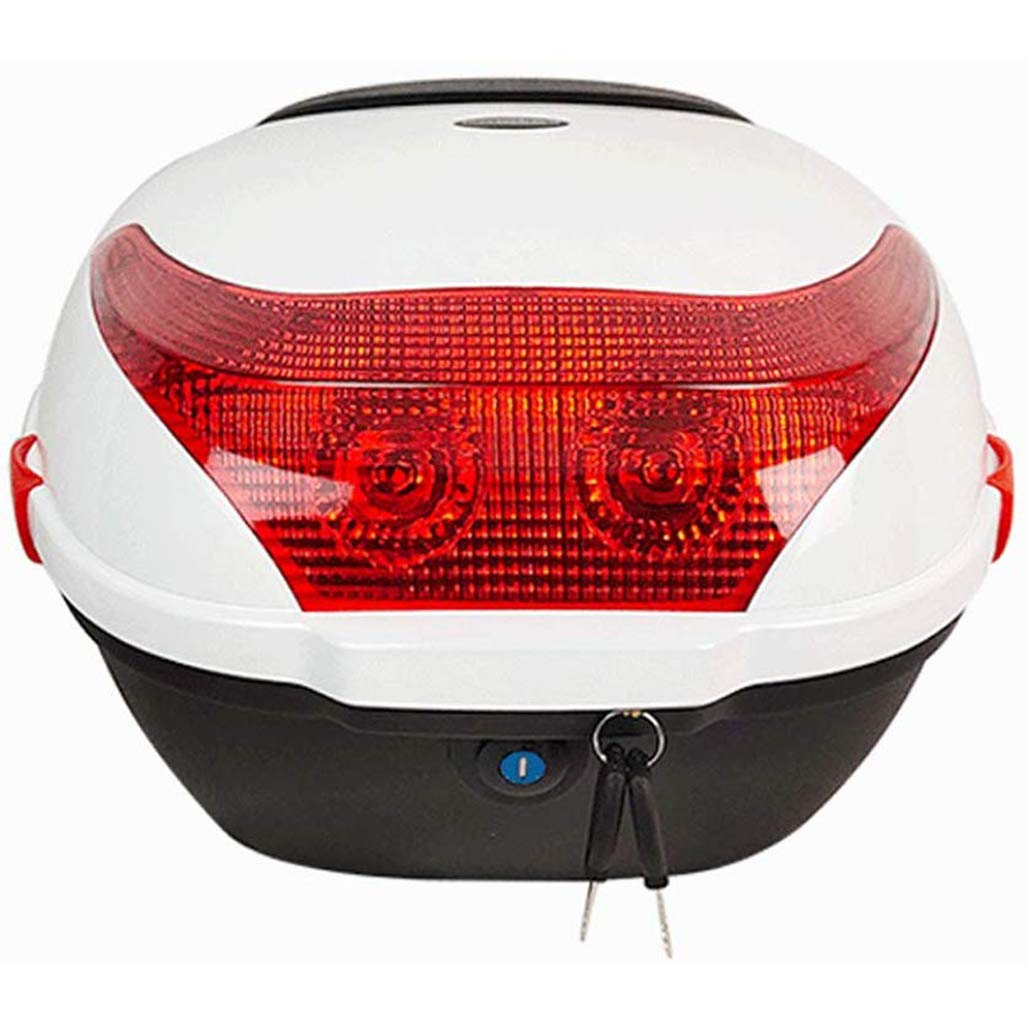 Motorbike Tour Tail Box Scooter Trunk//Rack Bag with Soft Backrest and Night Warning Light 30L Capacity Holds 1 Helmet Hard Case
