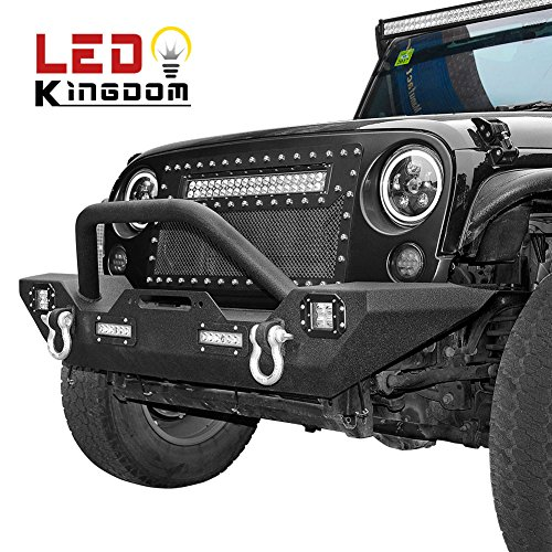 LEDKINGDOMUS 07-18 Jeep Wrangler JK Rock Crawler Front Bumper with LED Lights & Winch Plate & (Front Rock Crawler)