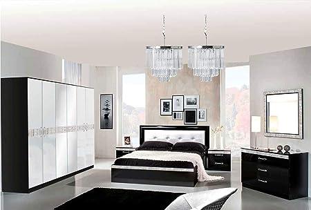 Specchio Design Per Camera Da Letto.Lignemeuble Linea Glamour Laccato Bianco E Nero Per Camera Da