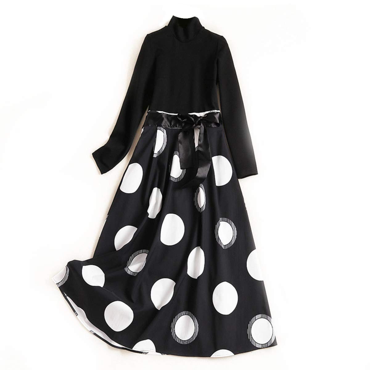 Black Polka Dot Print Turtle Neck Patchwork Long Sleeve Swing Pleated Maxi Dress Women