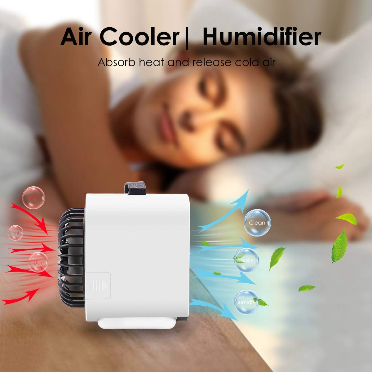 White VRZTLAI Portable Air Conditioner Fan Personal Space Air Cooler Mini USB Rechargeable Desk Fan Small Evaporative Cooler Purifier Humidifier with Handle /& Night Light for Office Home Outdoors