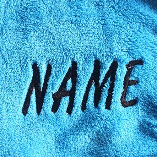 Velours Bleu De Enfants Brodé Chaud Garçon Nuit Chemise Robe nom Corail Pour Bain YR0Owwx