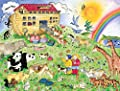 10.5-Feet wide by 8-Feet high. Prepasted robust wallpaper mural for children from a photo of: Noah's Ark from an original painting by Ruth Baker. Our murals are easy to install remove and reuse.