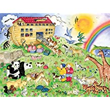 7.5-Feet wide by 6-Feet high. Prepasted robust wallpaper mural from a photo of: Noah's Ark. A painting for children by Ruth Baker. Our murals are easy to install remove and reuse. See our video.