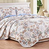 NTBAY 3 piece Reversible Floral Printed Quilt Set(Queen,Beige)