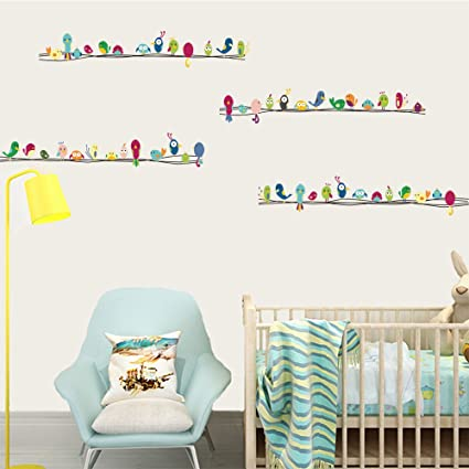 Delicieux DecalMile Colorful Birds Wall Stickers Kids Room Wall Decor Peel And Stick  Removable Vinyl Wall Decals
