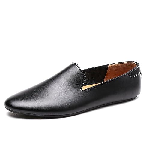 Herren Slipper Leder Herren Freizeitschuhe Slip on Fashion Herren Loafers  Mann Mokassins 8616f5f51a