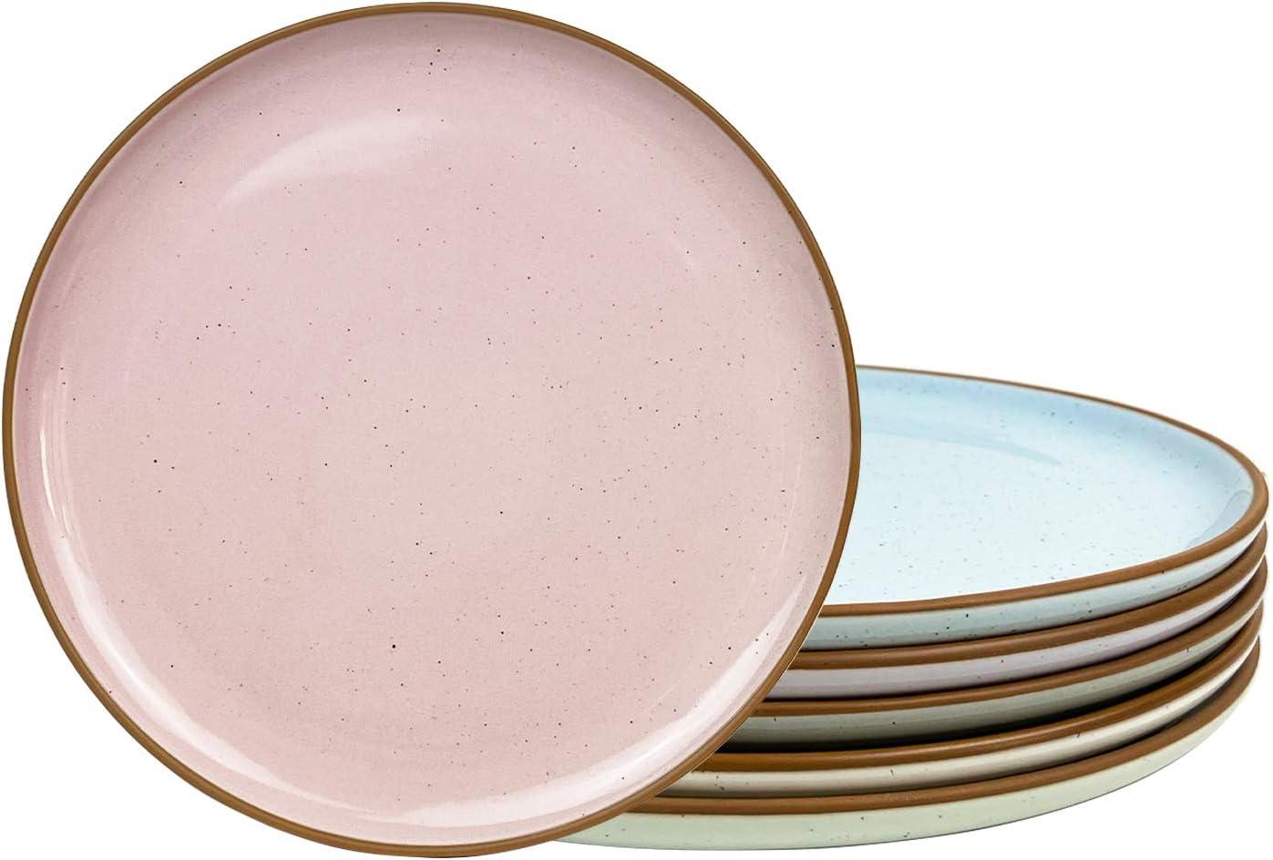 Mora Ceramic Dinner Plates Set of 6, 10 inch Dish Set - Microwave, Oven, and Dishwasher Safe, Scratch Resistant, Modern Rustic Dinnerware- Kitchen Porcelain Serving Dishes - Assorted Colors
