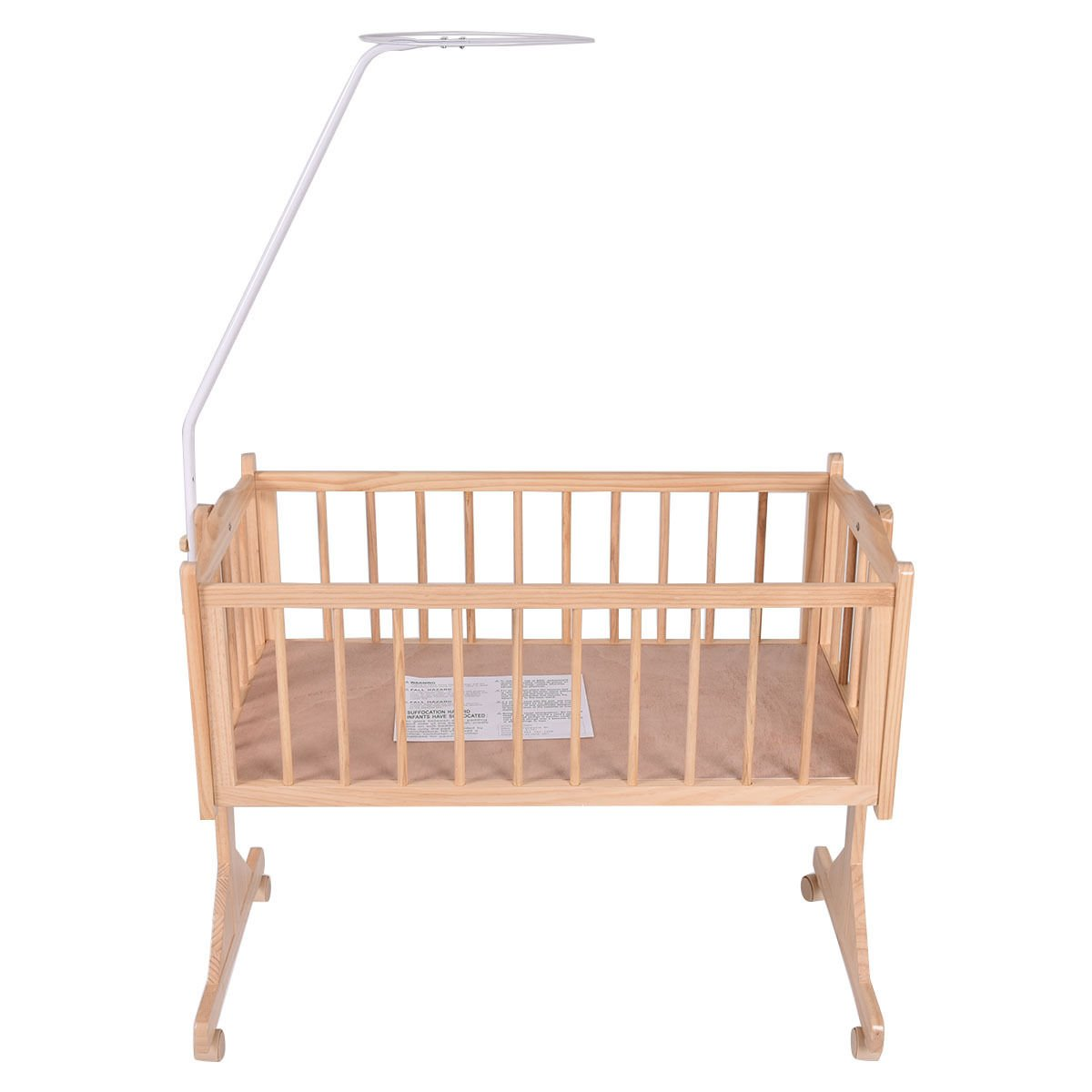 SKEMiDEX---Wood Baby Cradle Rocking Crib Bassinet Bed Sleeper Born Portable Nursery Yellow This Wooden Baby Cradle comes complete with everything your baby needs for sleep by SKEMiDEX (Image #4)