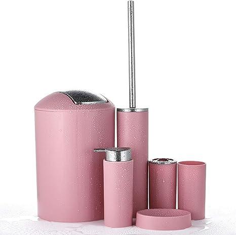 Jotom 6tlg Badset Badezimmer Zubehor Set Lotionsflaschen Zahnburstenhalter Zahnbecher Seifenschale Toilettenburste Mulleimer Rosa Amazon De Kuche Haushalt