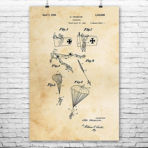 WW1 Fighter Plane Parachute Poster Print, Skydiving, Skydiver, Airborn, Gift, Patent, Vintage, Wall, Art, Home, Decor Vintage Paper (12