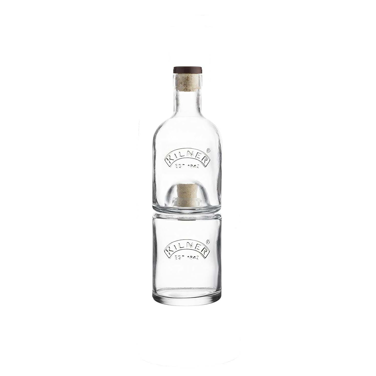 Kilner 2 Piece Stackable Bottle Set Ideal for Storing Oil and Vinegar or Whisky and Water, 10.1 x 10.1 x 30.5 cm 0025.838