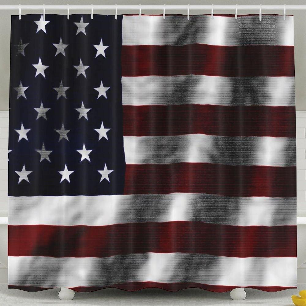 BINGO FLAG Funny Fabric Shower Curtain American Flag Dark Waterproof Bathroom Decor With Hooks 60 X 72 Inch
