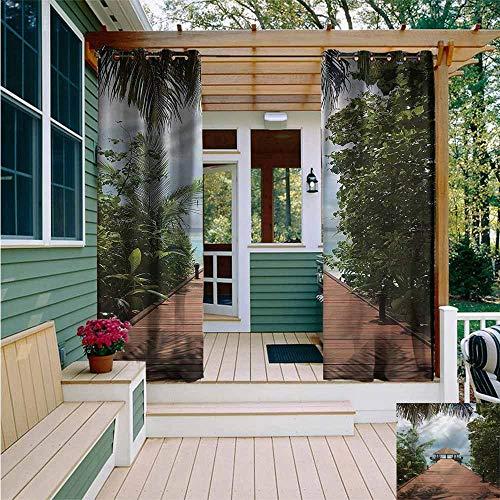 Beihai1Sun Custom Outdoor Curtain,Landscape Wooden Deck by The Sea,for Porch&Beach&Patio,W72x108L