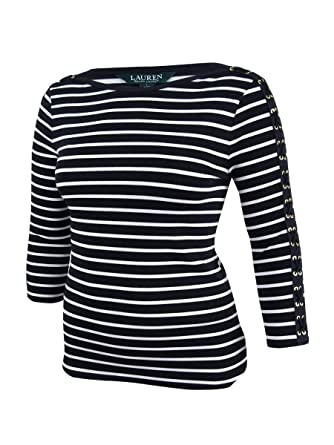 0bcf015894d85e Lauren Ralph Lauren Womens Striped Boatneck Pullover Top B W L at Amazon  Women s Clothing store