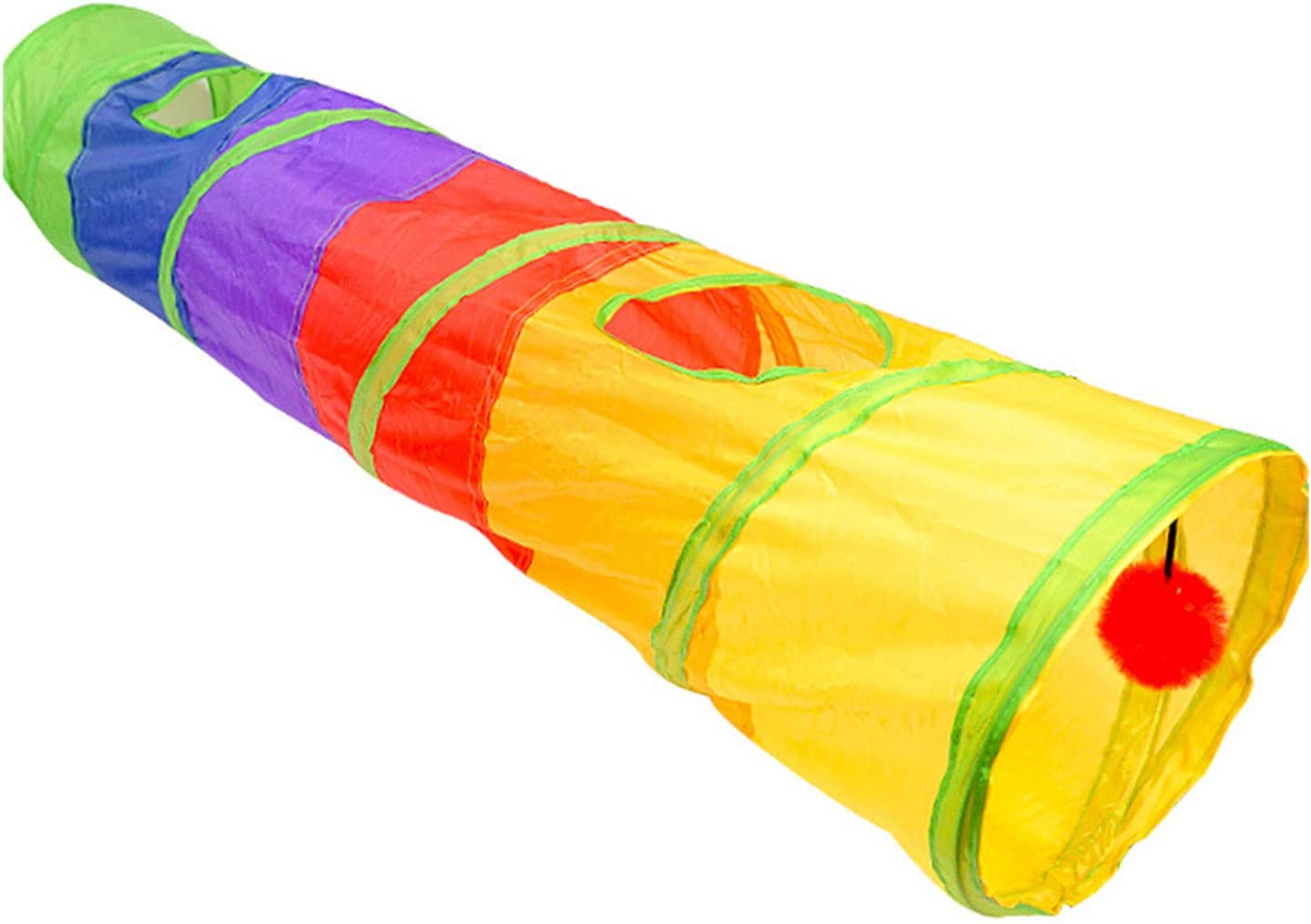 TCBH Cat Tunnel Pet Tube Collapsible Play Toy Indoor Outdoor Kitty Puppy Toys for Puzzle Exercising Hiding Training and Running with Fun Ball and Two Peek Hole Multicolor Rainbow