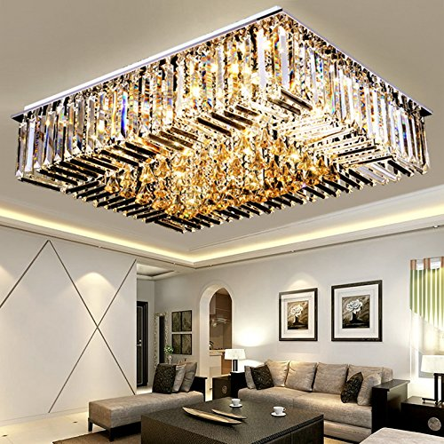 ZHUDJ Rechteckige Kristall Lampe Wohnzimmer Ohne Pole Dimmbare Led ...
