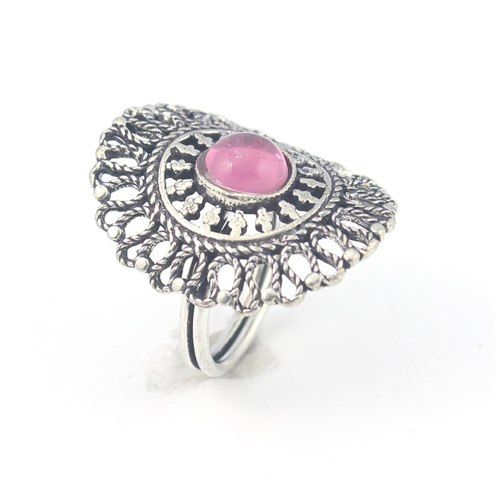 PINK ONYX FASHION JEWELRY .925 SILVER PLATED RING 8 S23921