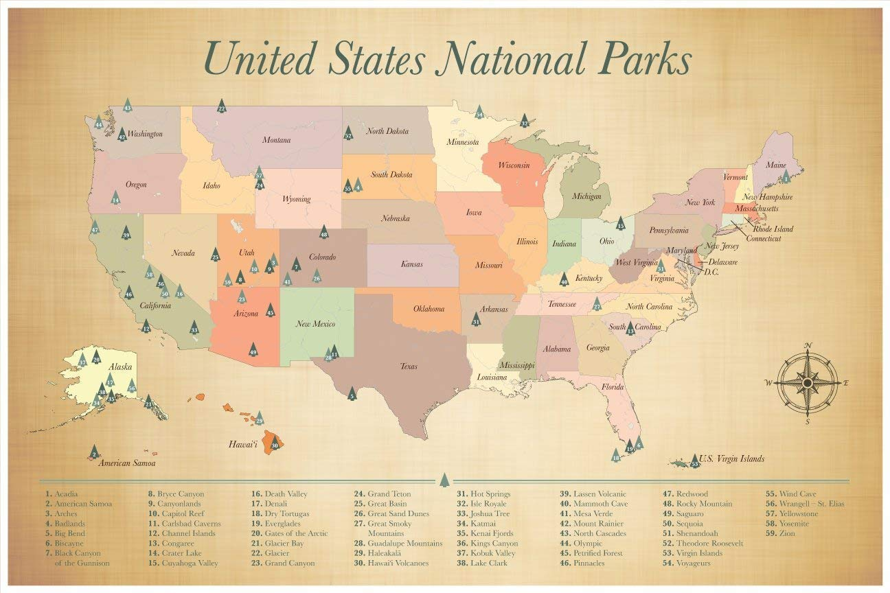 National United States Parks Map Push Pin Map Paper Gift Idea Ready to Ship  24x36 Inches