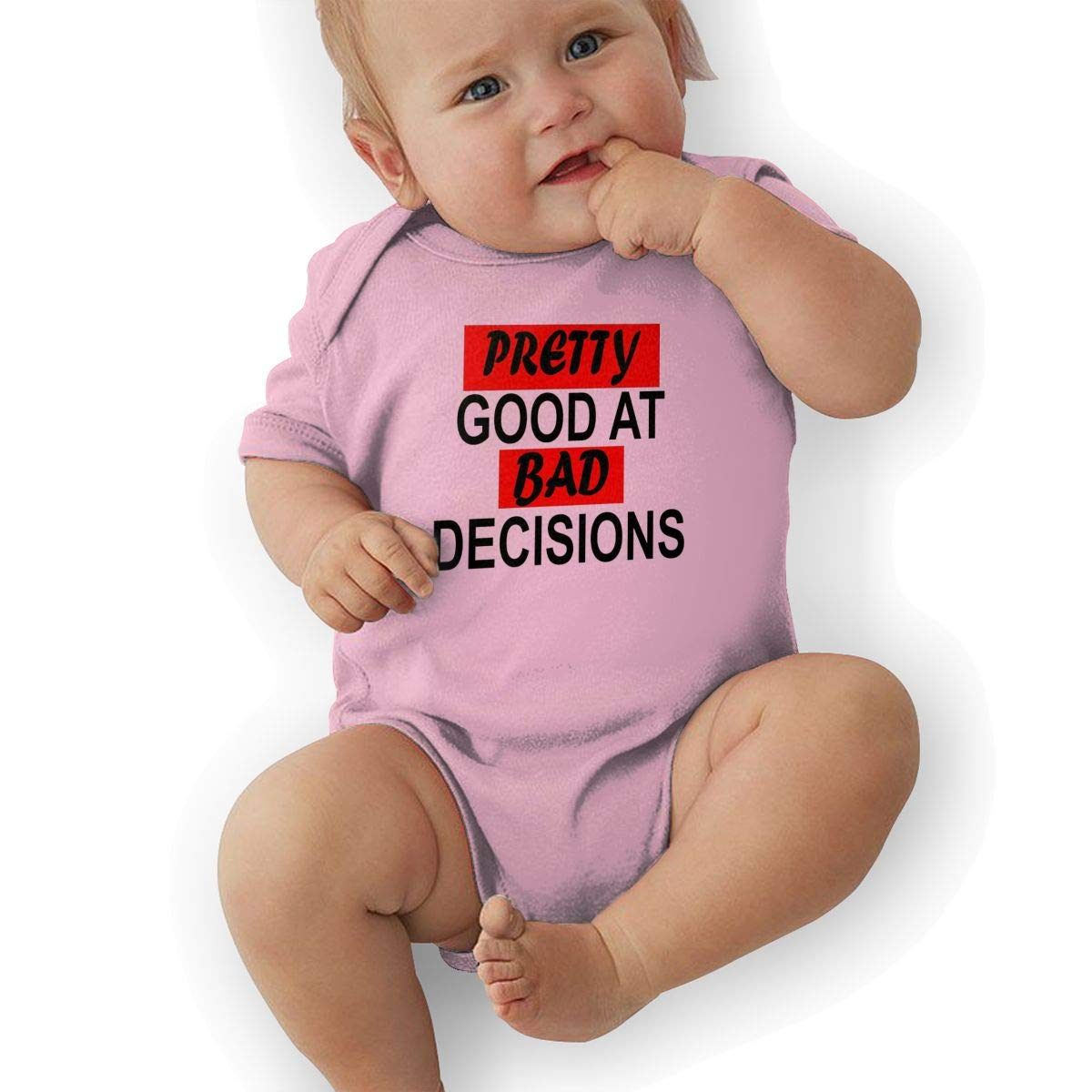 Infant Baby Boys Bodysuit Short-Sleeve Onesie Pretty Good at Bad Decisions Print Rompers Summer Pajamas