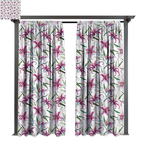 cobeDecor UV Protectant Indoor Outdoor Curtain Panel Flower Vivid Wild Lily Flora for Lawn & Garden, Water & Wind Proof W108 ()