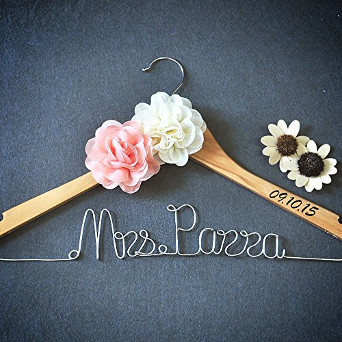 Custom wedding hanger with flower personalized wedding for Wedding dress hanger amazon