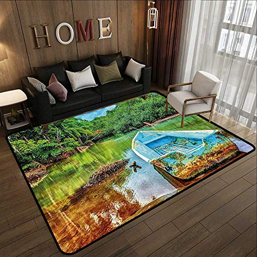 Lodges Rica Costa (Kitchen Floor mats,Landscape,Old Boat in Tropical River in National Park of Costa Rica Nature Photo,Green Brown and Aqua 71