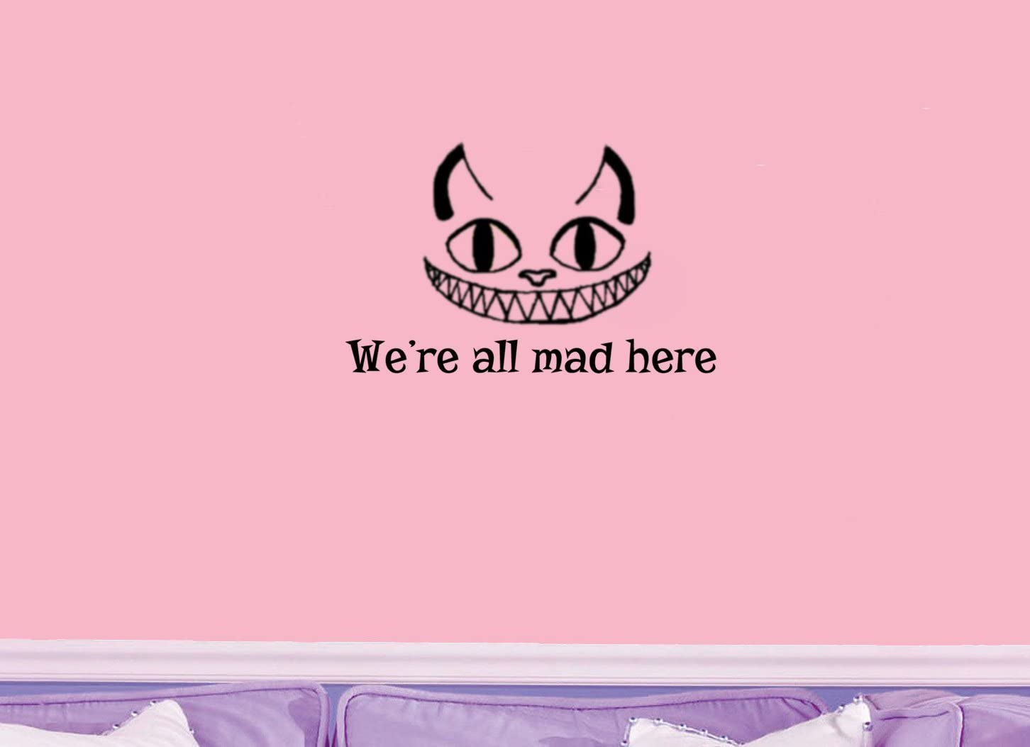 Amazon Com Valuevinylart Cheshire Cat Quote We Re All Mad Here Alice In Wonderland Wall Decal 12 X 8 Blue Home Kitchen