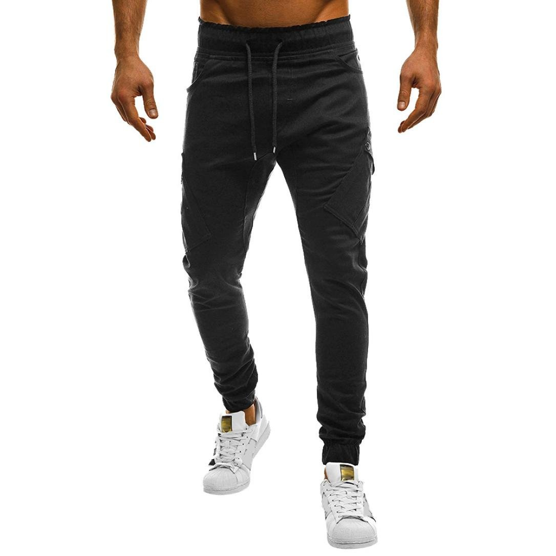 HTHJSCO Men's Fitness Workout Running Bodybuilding Joggers Pants, Men's Sport Casual Loose Sweatpants Drawstring Pant (Black, XL)