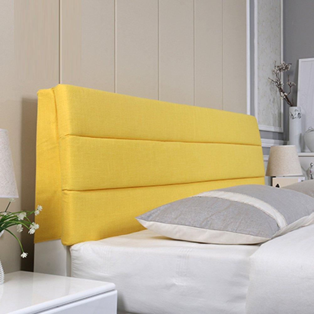 LIXIONG スリム ヘッドボードクッション ベッドサイドソフトパッケージ 枕 シングルまたはダブル 大型背もたれ ウエストパッド、 リネン、 4色、9サイズ (色 : Lemon yellow, サイズ さいず : 200*55*5cm) B07CB9NX6V  Lemon yellow 200*55*5cm