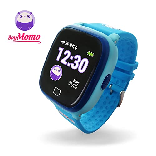 SoyMomo H2O Reloj Inteligente para Niños con GPS y Botón SOS Móvil para niños con Ranura para SIM Que Permite Llamadas y Mensajes Smartwatch para Niños con Rastreador GPS Resistente al Agua Azul
