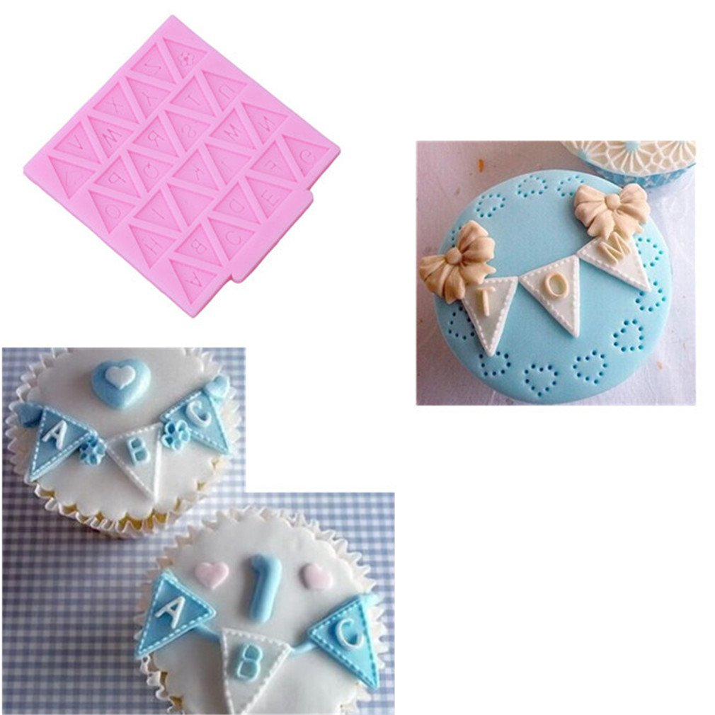 HENGSONG Pink Silicone Bunting Alphabet Letter Flag Chocolate Moulds Fondant Molds Cake Decor DIY Baking Tool