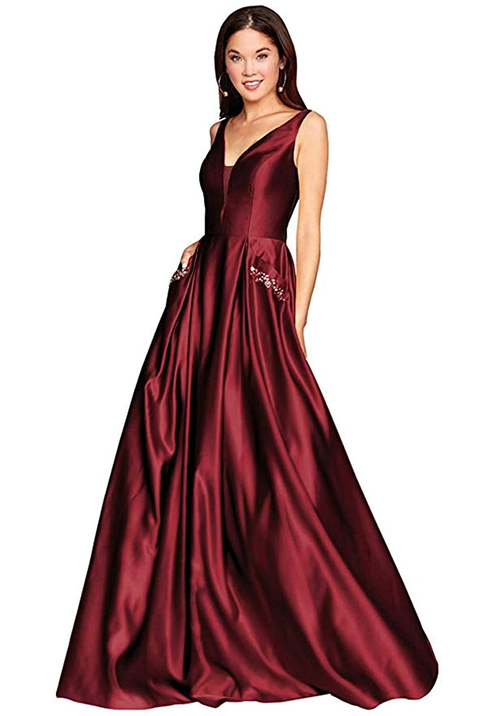 01burgundy PROMNOVAS Women's V Neck Backless Beaded Satin Prom Dress Long Formal Evening Gown with Pockets