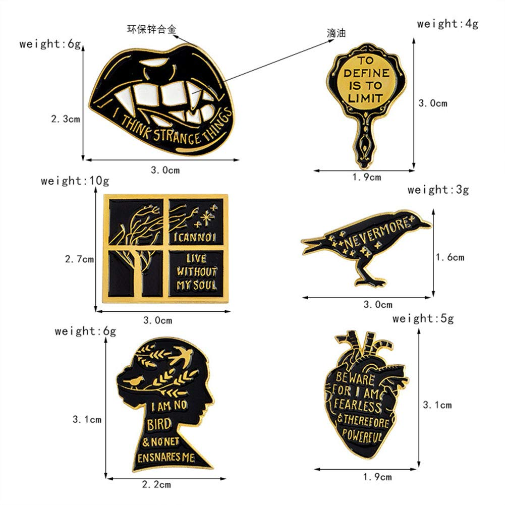 Udolove Women Enamel Lapel Pin Set Badge Pins for Girls Jackets Backpacks Jewelry (human mind set of 6) by Udolove (Image #2)