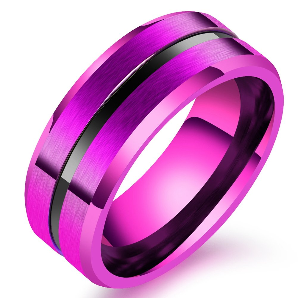 SAINTHERO Men\'s Women\'s Basic Wedding Bands 8MM Titanium Steel ...