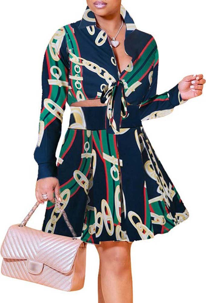 OopStyle Palazzo Dashiki 2 Pieces Outfit A Line Skirt Dress Set Navy Plus Size