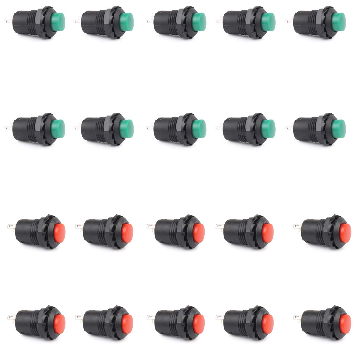 5 x Green Round 12mm Push Button Switch Momentary NO Normal Open OFF-ON 2 Pin